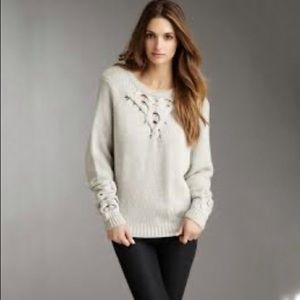 BCBG MAXAZRIA  cable knit cutout wool sweater